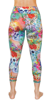 boho flower yoga legging capris back