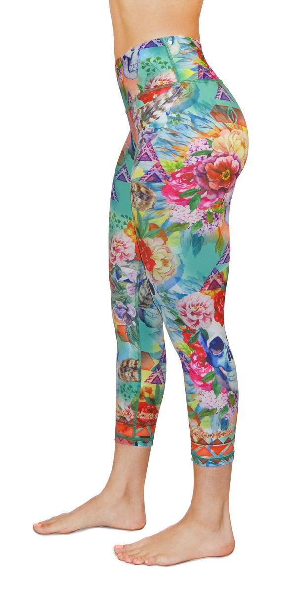 boho flower yoga legging capris left leg