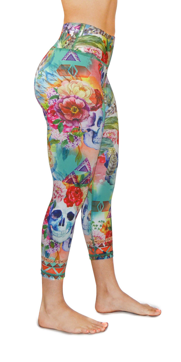 boho flower yoga legging capris right leg