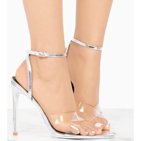 Clear Silver PVC Strappy Heeled Double Cross Sandals