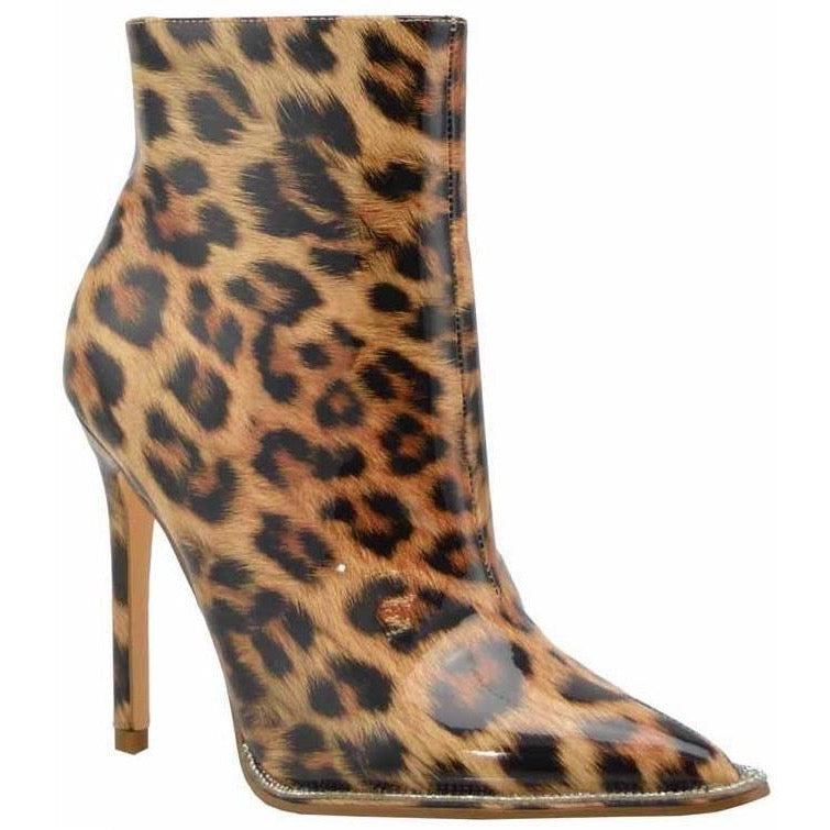 Leopard Patent Rhinestone Embellished Ankle Booties