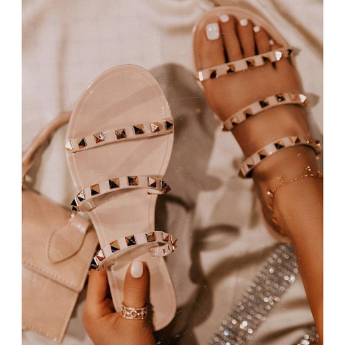 Studded Nude Jelly Mult-strap Sandals