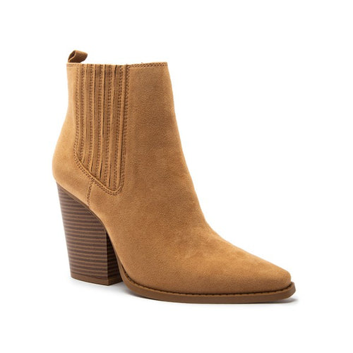 Slay Pointy Toe Block Heeled Bootie Tan