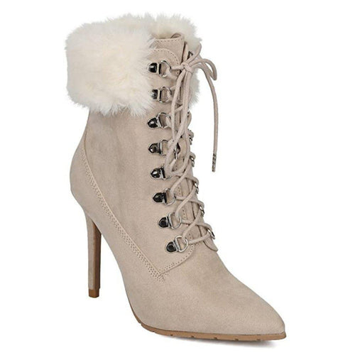 Pointy Toe Corset Lace Up Stiletto Bootie