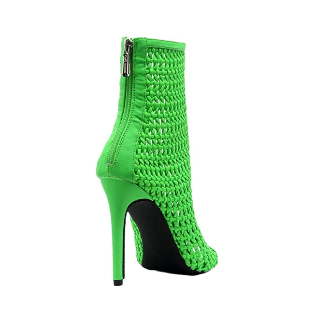 Weave Pointed Peep Toe Booties with Zipper Closure