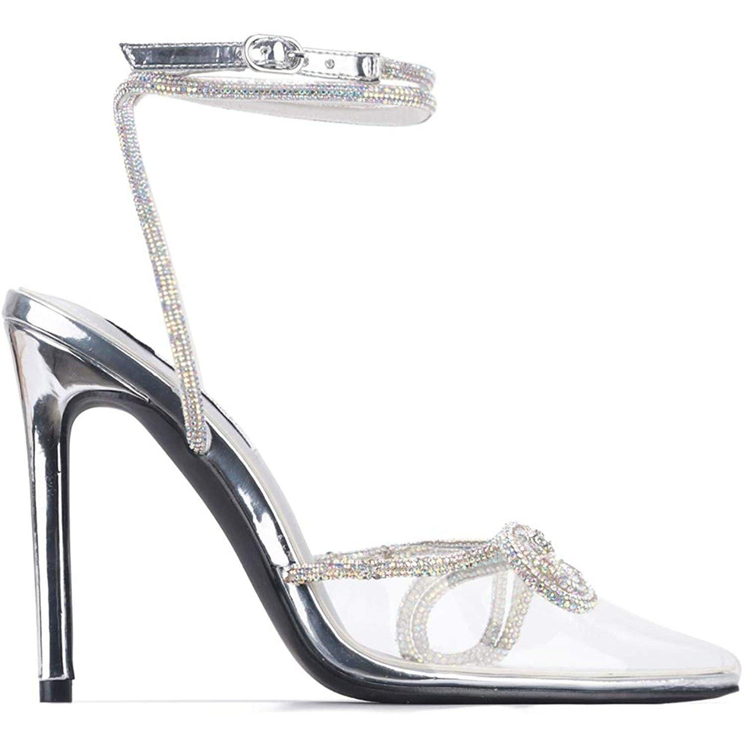 Christie Rhinestone Bow Clear Heels