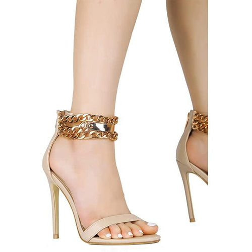 Chain-Up Open Toe Stiletto High Heel Sandal