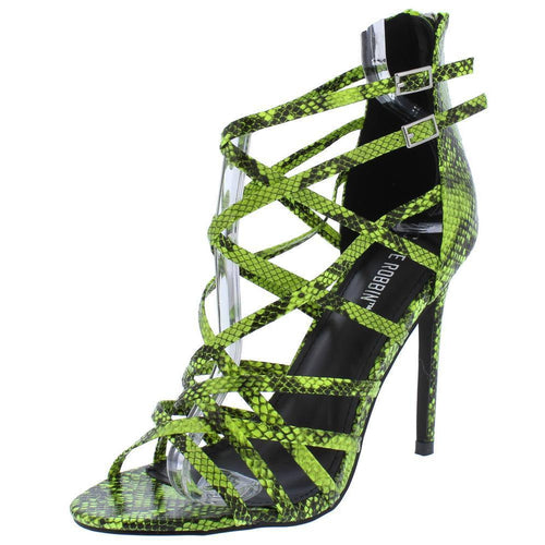 Percy Snake Open-Toe Heel Sandals