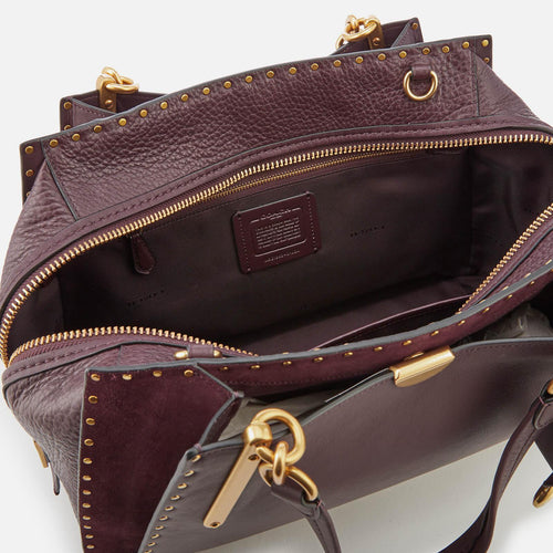 Border Rivets Mixed Leather Dreamer Satchel