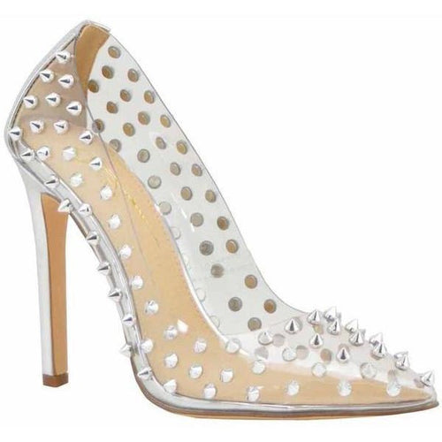 District Women's Spiked PVC Clear Pointy Toe Pumps