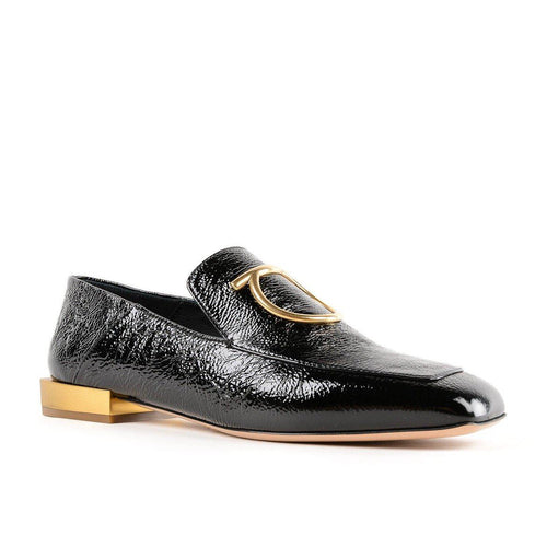 Black Lana Embellished Textured Patent-leather Loafers