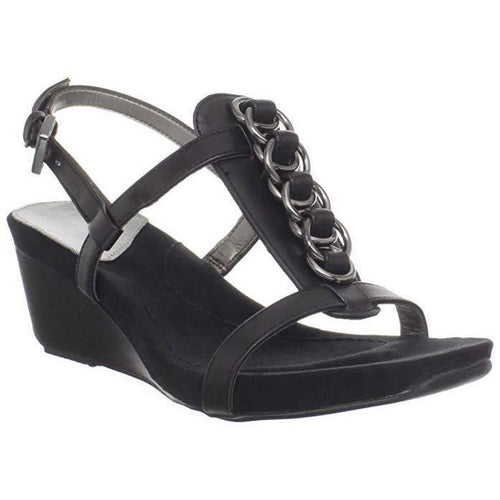 Happy Me Chain Black Leather Wedge Sandals-Shoes-Bandolino-8-ShoeShock