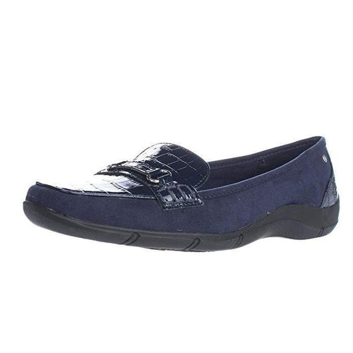 Karen Scott Womens Jazmin Square Toe Navy Loafers-Shoes-Karen Scott-7-ShoeShock