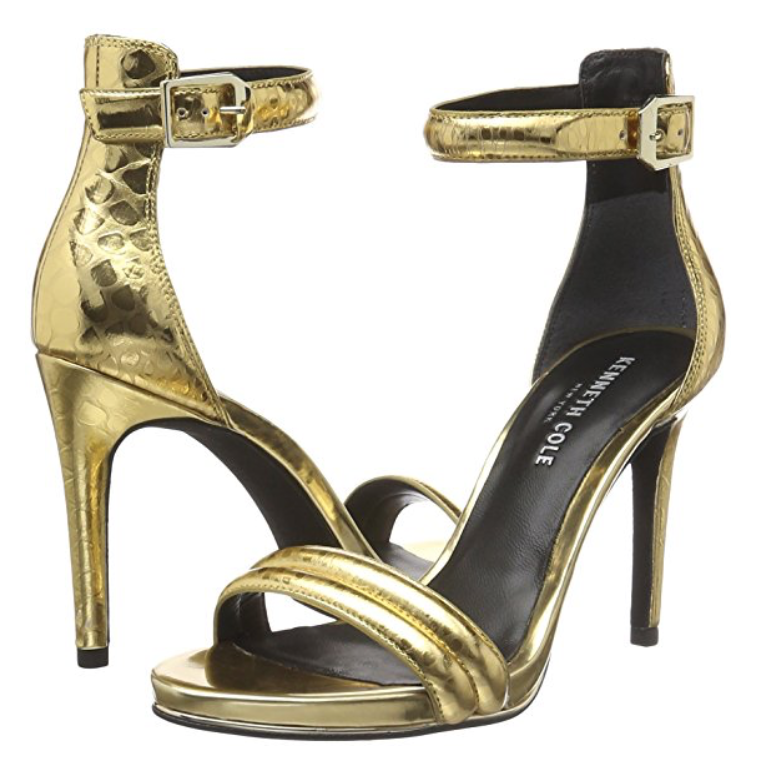 Kenneth Cole Women's Brooke Metallic Snake Embossed Ankle Strap Sandals-Shoes-Kenneth Cole-6-ShoeShock