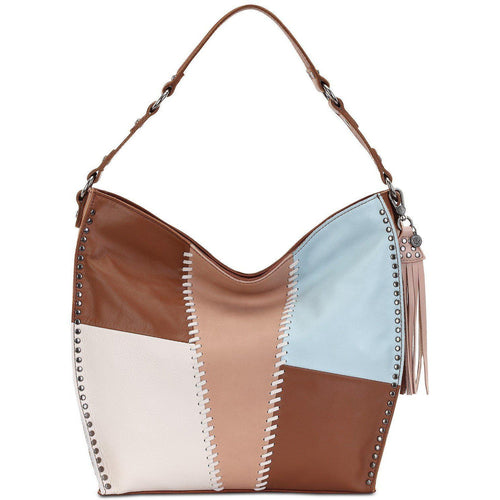 Leather Med Brown/Multicolor Shoulder Hobo