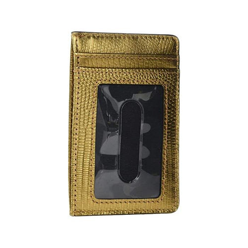 Lizard Embossed Slim Card Case Medium Gold