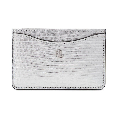 Lizard Embossed Slim Card Case Medium Silver