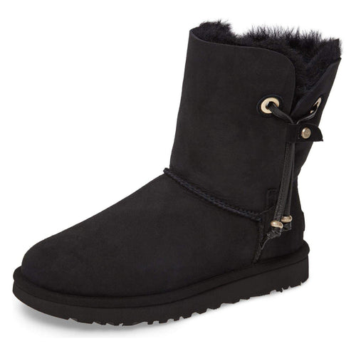 Maia Black Suede Shearling Drawstring Short Boots