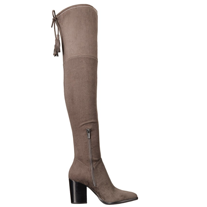 11e819be285 Marc Fisher LTD Women s  Alinda  Over The Knee Gray Fabric Boot-Shoes-