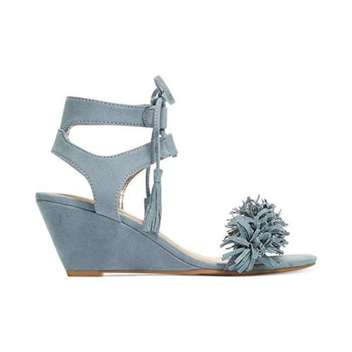 Material Girl Haniya Fringe Wedge Sandals Powder Blue-Shoes-Material Girl-8-ShoeShock