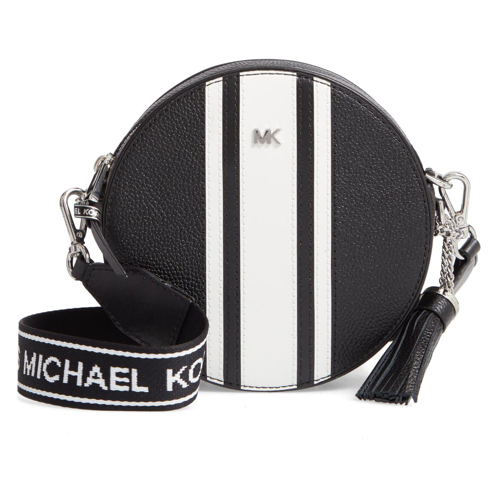 Michael Kors Leather Canteen White Black Crossbody Bag