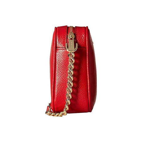 MICHAEL Michael Kors Ginny Leather Camera Crossbody Bag Bright Red-Handbags & Accessories-Michael Kors-ShoeShock