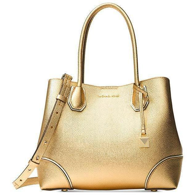 2d9a19a6507fa7 MICHAEL Michael Kors Mercer Medium Leather Tote in Gold-Handbags &  Accessories-Michael Kors