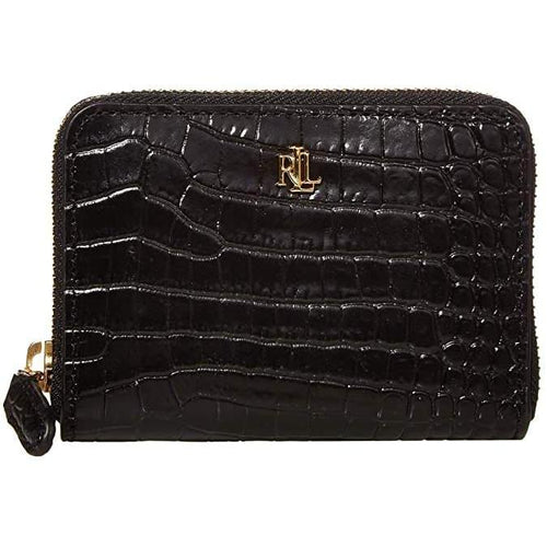 Mini Croc Embossed Small Zip Wallet Black