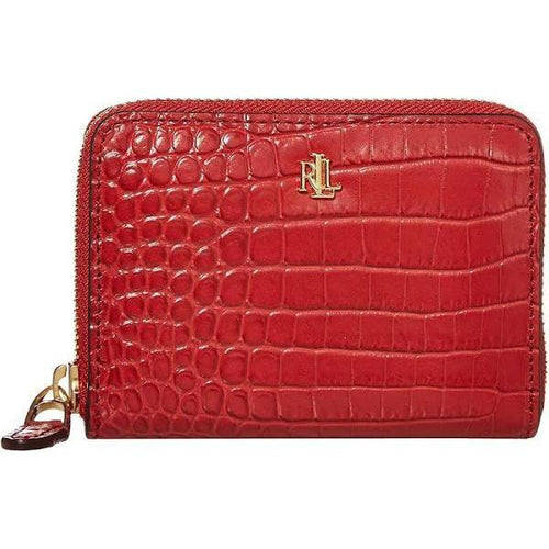 Mini Croc Embossed Small Zip Wallet Red