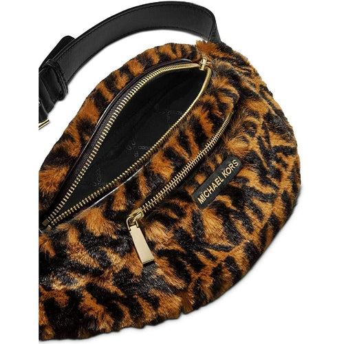 Mott Medium Logo Animal Print Faux Fur Belt Bag
