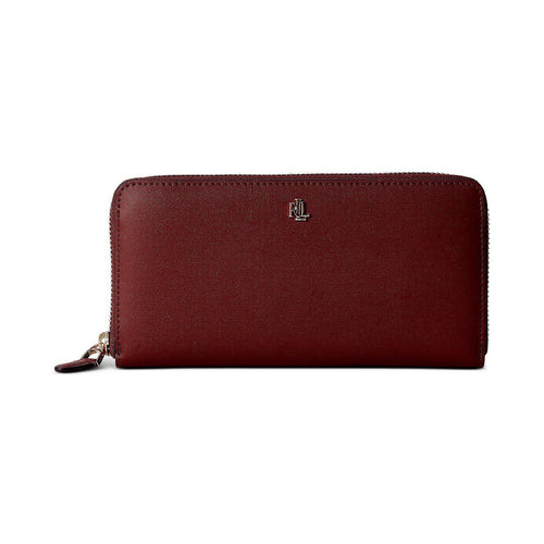 Smooth Leather Zip Wallet Burgundy