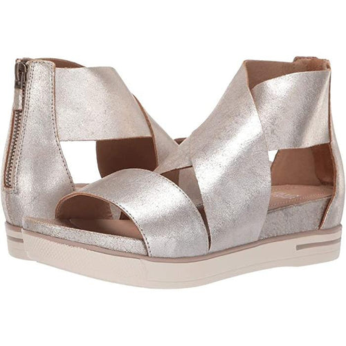 Sport Crisscross Frozen Metallic Platform Sandals