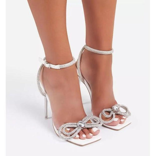 Sugar Coated Women's Rhinestone Bow Heeled Sandals
