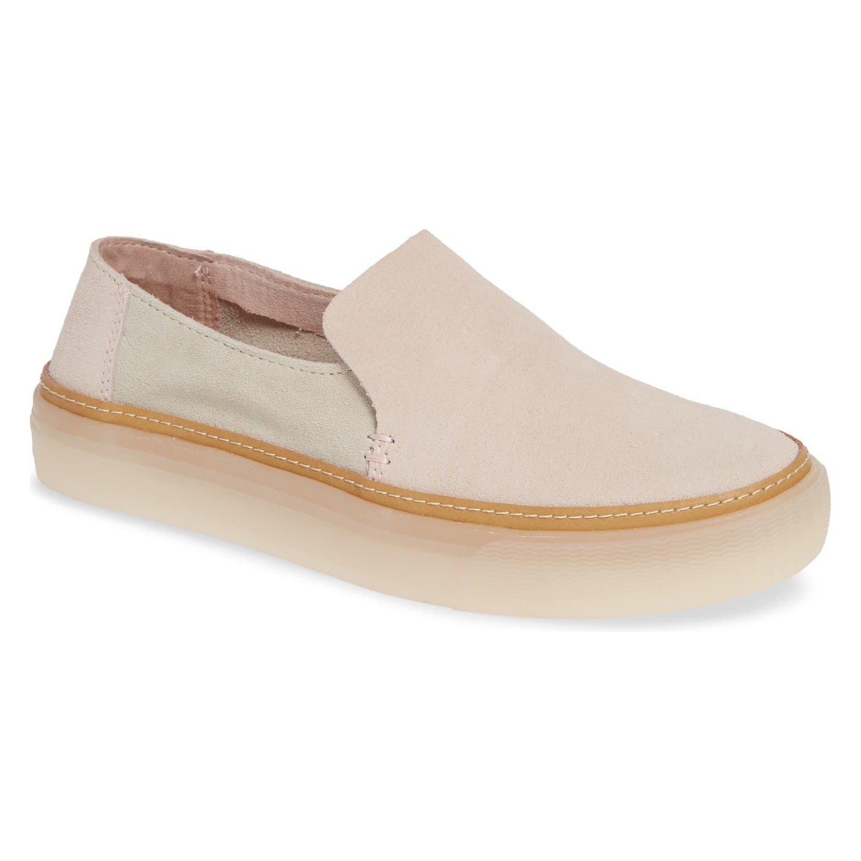 Sunset (Blush/Birch Suede) Slip-On Platform Sneakers