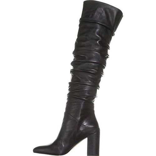 INC Womens Tabithaa Leather Ruched Knee-High Boots-Shoes-INC-7.5-ShoeShock