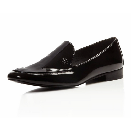 Tory Burch Black Leather Dominique Loafers-Shoes-Tory Burch-8-ShoeShock