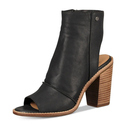 Valencia Peep Toe Block Heel Leather Booties