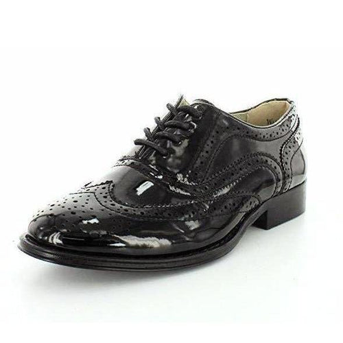 Wanted Women's Babe Lace Up Oxford Black Patent-Shoes-Wanted-6-ShoeShock