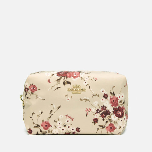 White Beechwood Floral Print Small Nylon Cosmetic Case
