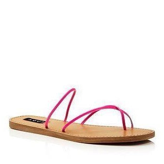 Zeus Leather Open Toe Strappy Sandals Pink Neon