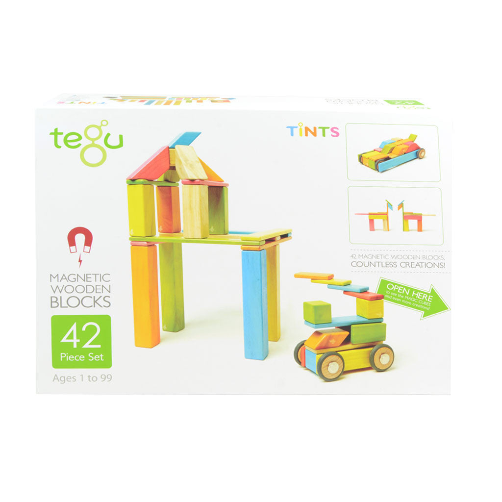 Tegu - Magnetic Wooden Blocks 42 Pc Set in Tints - Packaging
