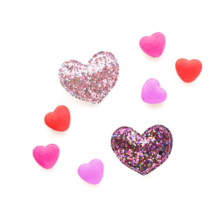 Hello Shiso - Big Heart Hair Clips - Pink Glitter - Designed in Berkeley, CA