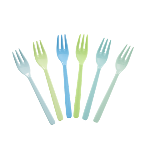 Set of Six Melamine Forks- Blue and Green