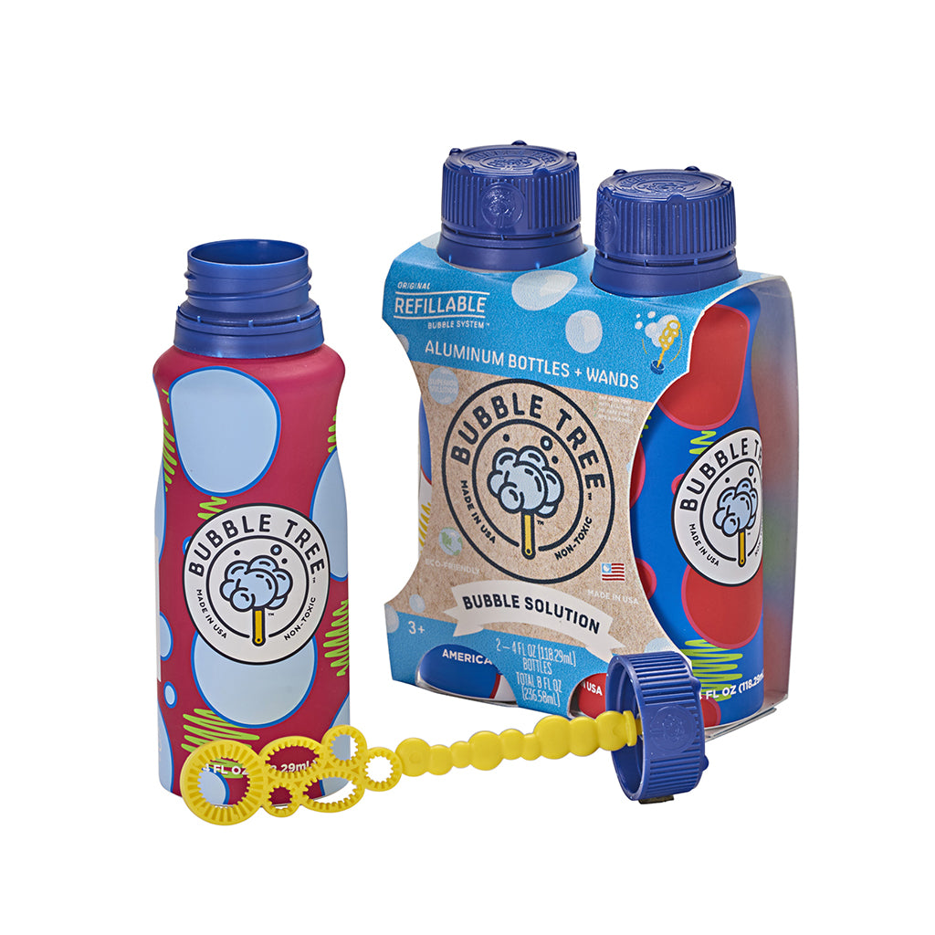 Bubble Tree - 2-Pack Original Refillable Bubble Bottle + Wand | Mapamundi Kids