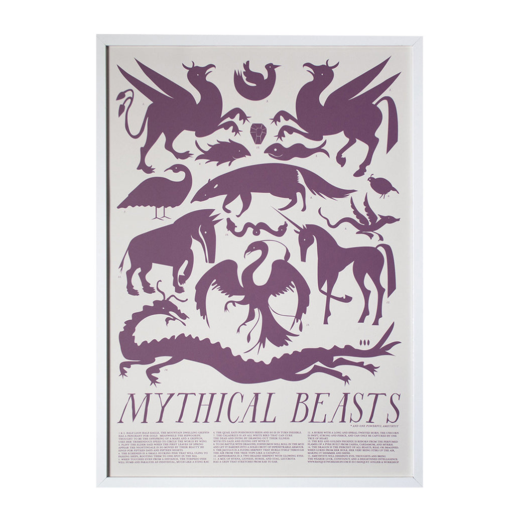 Banquet - Purple Mythical Beasts Print - Designed and Printed in Canada