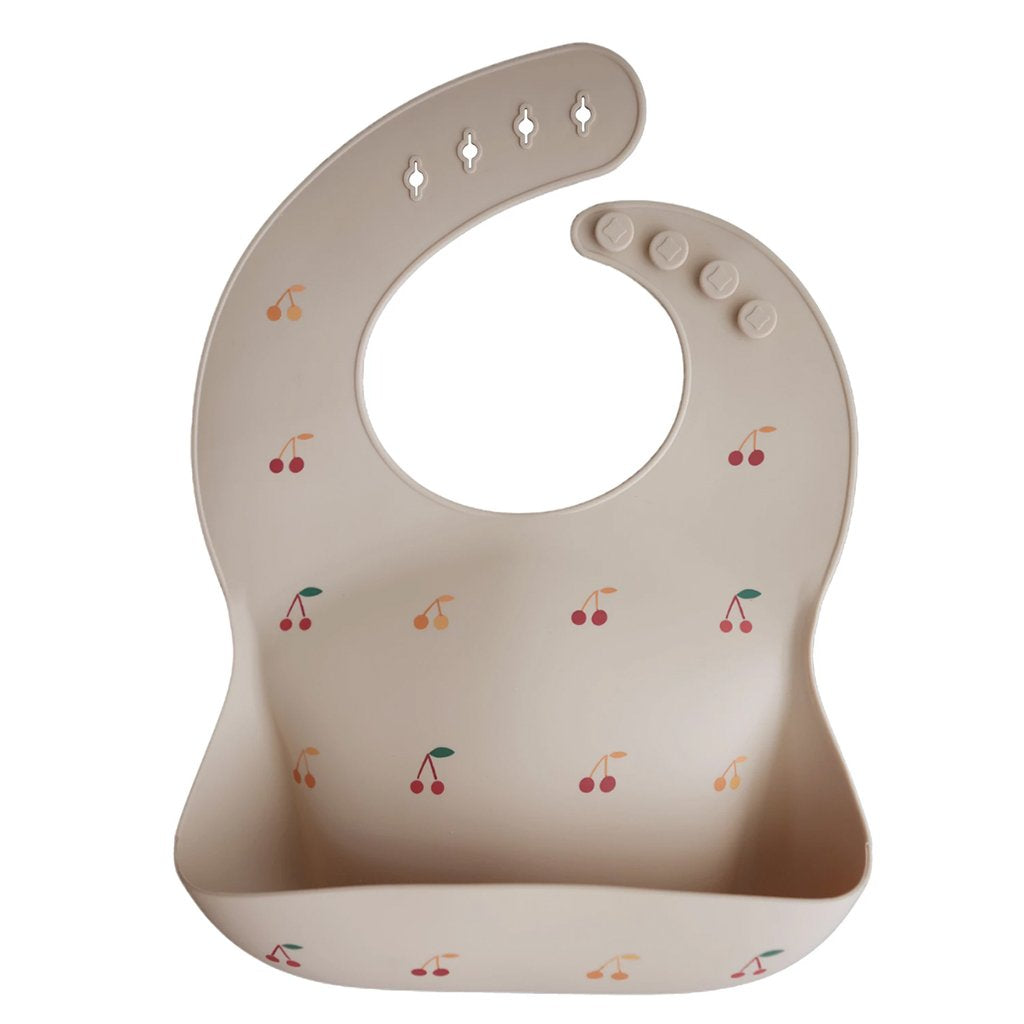 bibs usa mushie silicon baby bib cherries