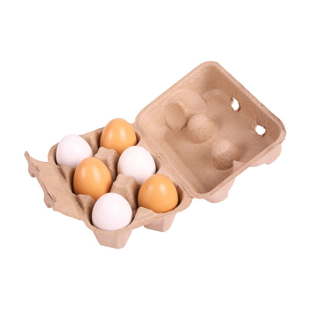 Bigjigs - Six Wooden Eggs in Carton | Mapamundi Kids
