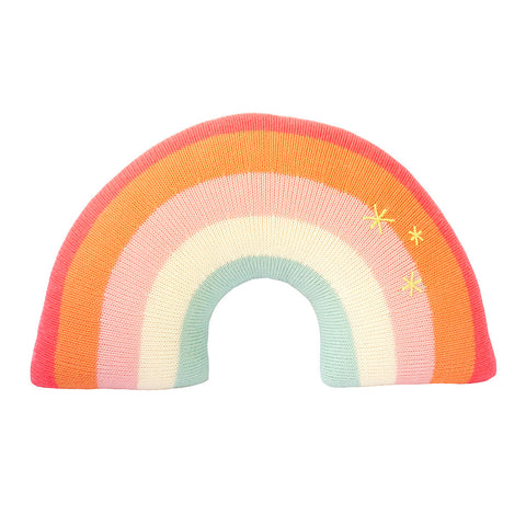 Blabla - Knit Rainbow Pillow in Pink - Handmade in Peru