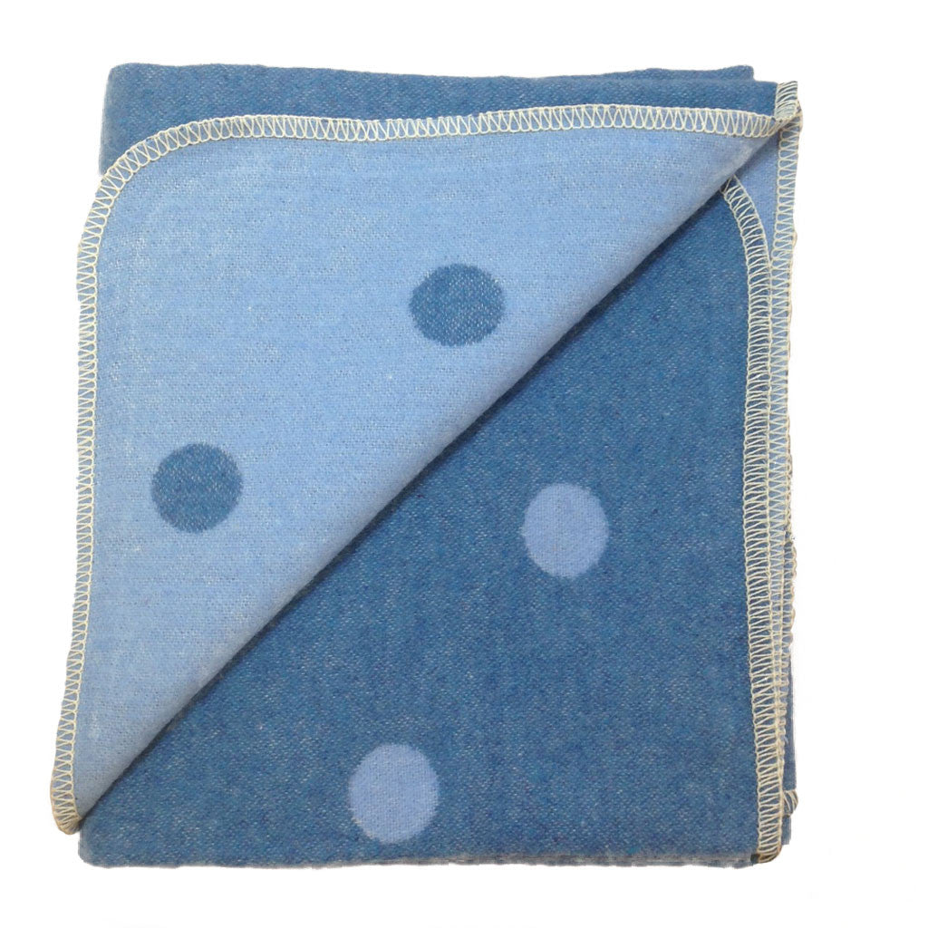 David Fussenegger - Juwel Polka Dots Blanket in Blue/Light Blue - Reversible