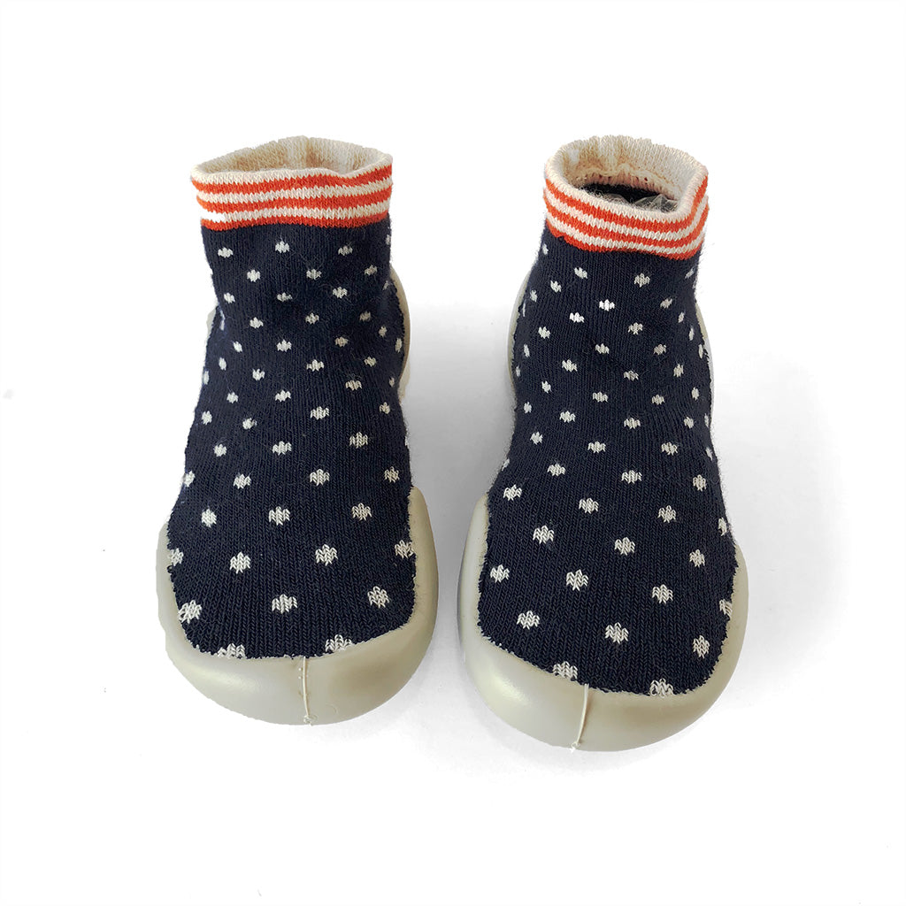 Slipper Socks - Navy Dot